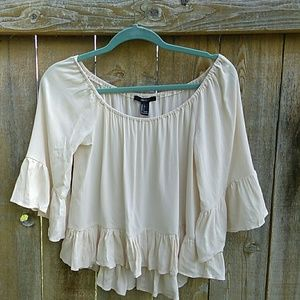 Boho Ruffle Top Hi-low Crop Beige